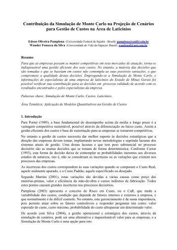 Contribuição da Simulação de Monte Carlo na ... - IEPG - Unifei