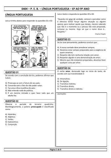 0404 – P. E. B. – LÍNGUA PORTUGUESA – 6º AO 9º ... - ProMunicipio