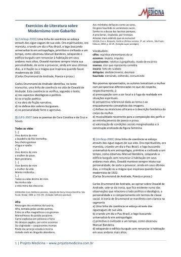 Exercícios de Literatura sobre Modernismo com ... - Projeto Medicina