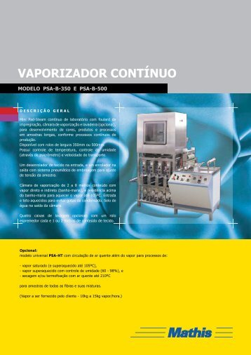 VAPORIZADOR CONTÍNUO - MATHIS Aparelhos de Laboratório ...