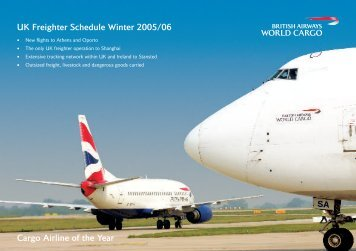 UK Freighter Schedule Winter 2005/06 Cargo Airline of the Year