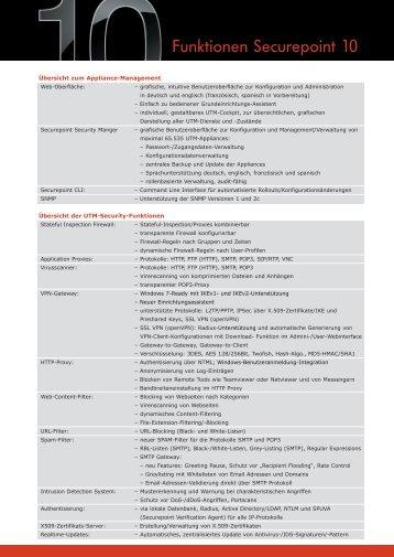 Securepoint Version 10 Funktionen