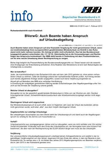 BVerwG: Auch Beamte haben Anspruch auf Urlaubsabgeltung