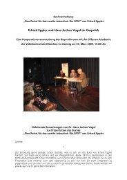 Erhard Eppler und Hans-Jochen Vogel im Gespräch