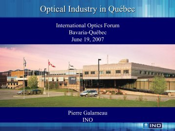 Optical Industry Industry in Québec - bayern photonics eV