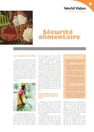 Sécurité alimentaire - World Vision Schweiz