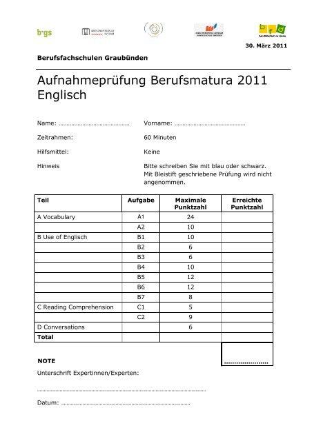 Aufnahmeprüfung Berufsmatura 2011 Englisch