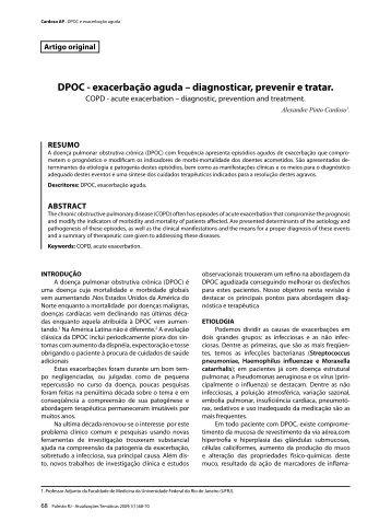 DPOC - exacerbação aguda – diagnosticar, prevenir e tratar.
