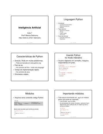 Inteligência Artificial Linguagem Python Características de ... - UFF