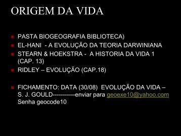 Slides referente a ORIGEM DA VIDA
