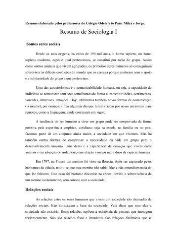 Resumo de Sociologia I - Colégio Odete São Paio