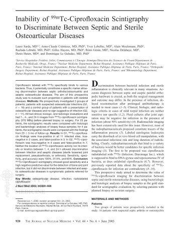 Inability of 99mTc-Ciprofloxacin Scintigraphy to Discriminate ...