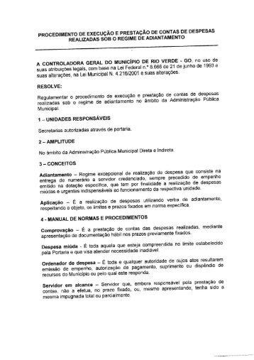 Adiantamento - Prefeitura de Rio Verde