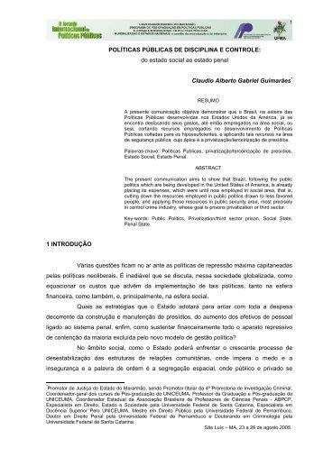 POLÍTICAS PÚBLICAS DE DISCIPLINA E CONTROLE: do estado ...
