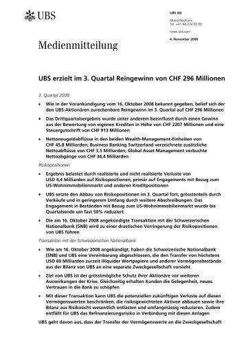 UBS erzielt im 3. Quartal Reingewinn von CHF 296 Millionen - zio.ch