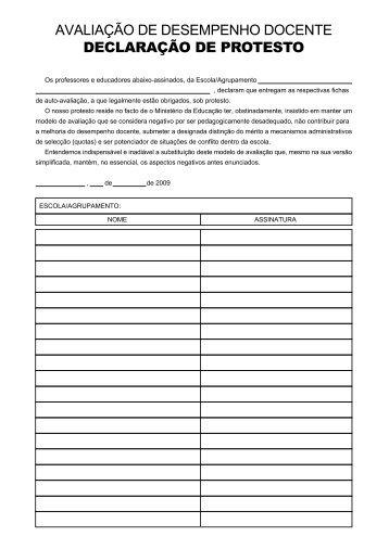 avaliação de desempenho docente declaração de protesto