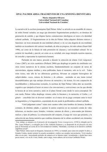 opal palmer adisa: fragmentos de una sinfonía identitaria