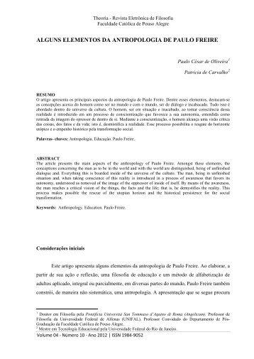 alguns elementos da antropologia de paulo freire - Theoria