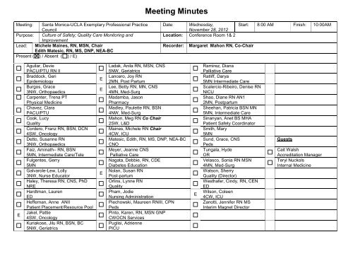 November Meeting Minutes - UCLA Health System Nursing