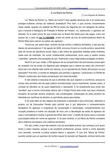 A Lei Maria da Penha - JusMilitaris.com.br