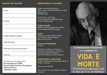 VIDA E MORTE - Universidade Católica Portuguesa