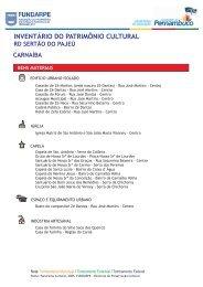 INVENTÁRIO DO PATRIMÔNIO CULTURAL - Mapa Cultural PE
