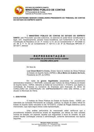 Representação - Tribunal de Contas do Estado do Espírito Santo