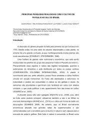 PRINCIPAIS PESQUISAS REALIZADAS COM O CULTIVO DE ...