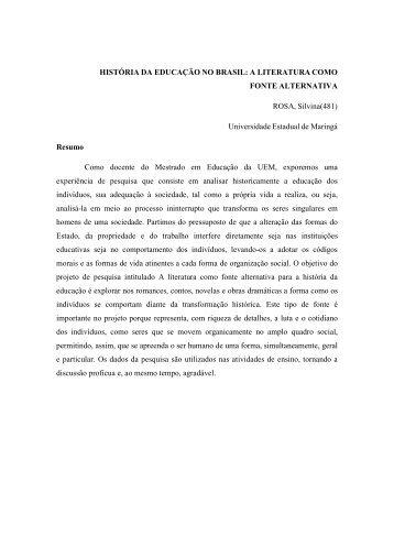 HISTÓRIA DA EDUCAÇÃO NO BRASIL - Portal ANPED SUL