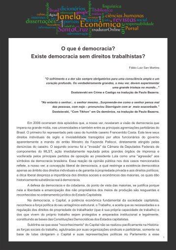 O que é democracia? - Faculdades Santa Cruz