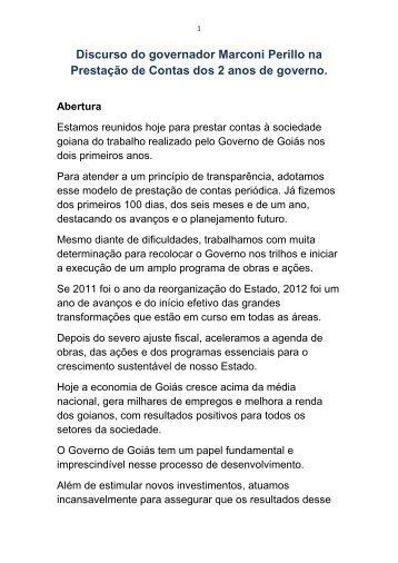 Discurso do governador Marconi Perillo na Prestação de Contas ...