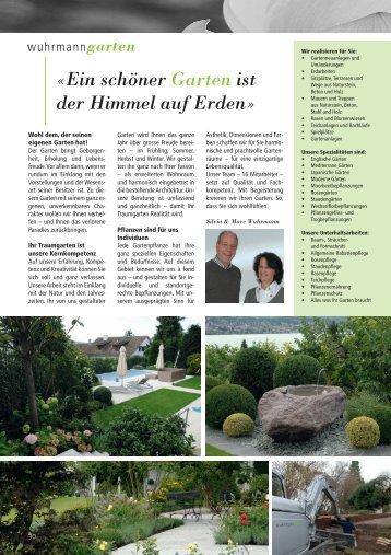 Ein schöner Garten ist der Himmel auf Erden - Wuhrmann Garten AG