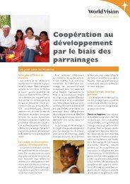 Coopération au développement par le biais des parrainages