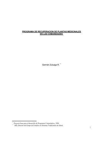 1 PROGRAMA DE RECUPERACION DE PLANTAS MEDICINALES ...