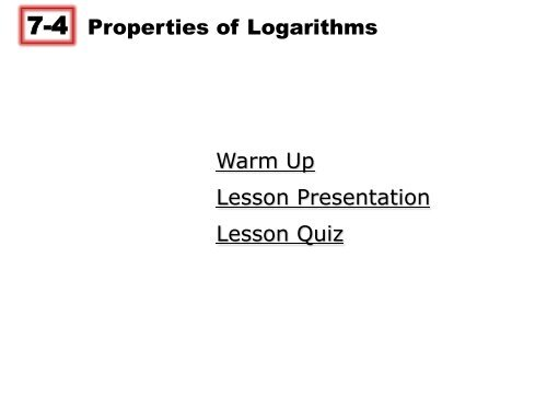 lesson 7-4 problem solving properties of logarithms