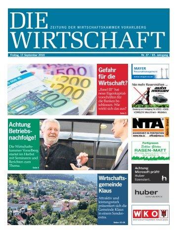 Die Wirtschaft Nr. 37 vom 17. September 2010