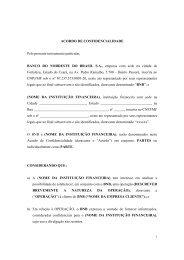 Acordo de Confidencialidade - Banco do Nordeste