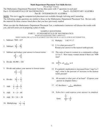 AccuPlacer Math Test Prep Course - Math Help
