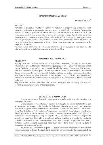 marxismo e pedagogia - histedbr - Unicamp