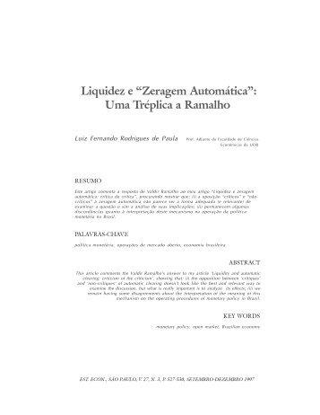 """Liquidez e """"Zeragem Automática"""" - Instituto de Economia da UFRJ"""