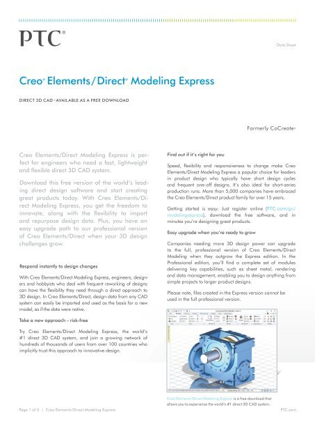 Creo Elements Direct Modeling Express Ptc Com