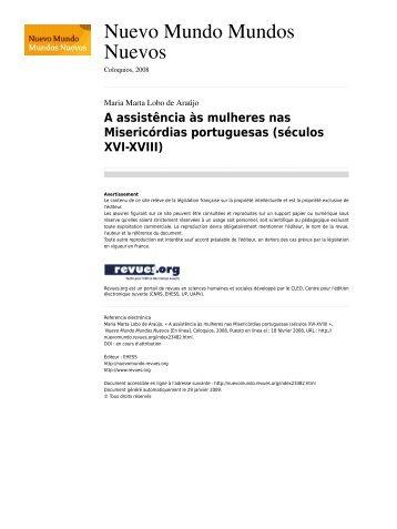 A assistencia as mulheres nas misericordias portuguesas_seculos XVI