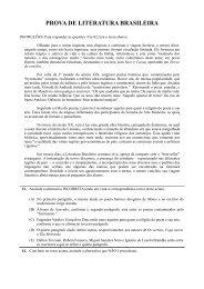 PROVA DE LITERATURA BRASILEIRA