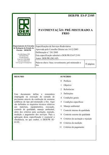der/pr es-p 23/05 pavimentação: pré-misturado a frio - DER - Estado ...