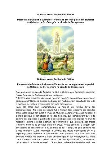 Nossa Senhora de Fátima, padroeira da Guiana - Nos Passos de ...