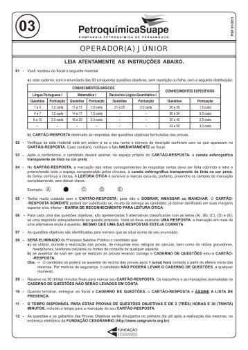 PROVA 03 - OPERADOR(A) JÚNIOR.indd - Cesgranrio