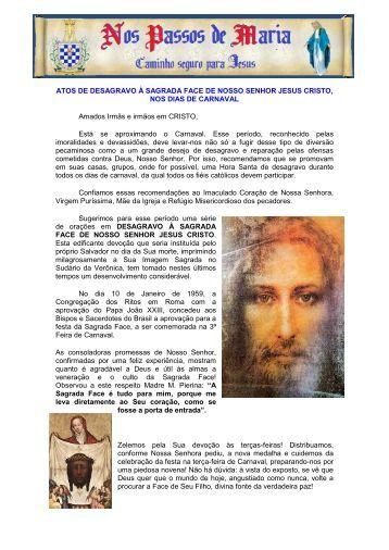 Devoção à Sagrada Face de Nosso Senhor Jesus - Nos Passos de ...
