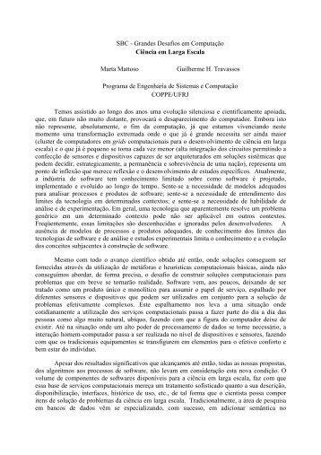 SBC - Grandes Desafios em Computação Ciência em Larga Escala ...