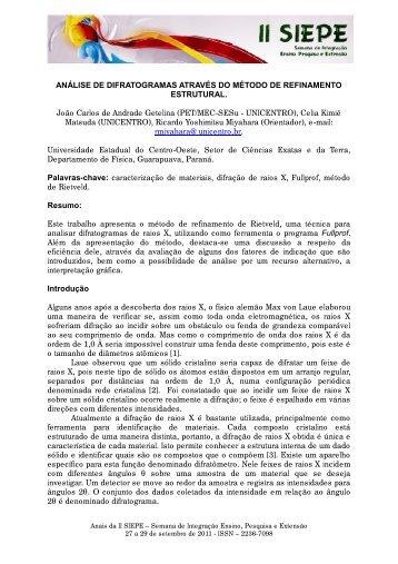 análise de difratogramas através do método de - Universidade ...