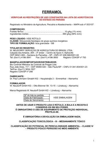 FERRAMOL - Secretaria da Agricultura e Abastecimento - Estado do ...